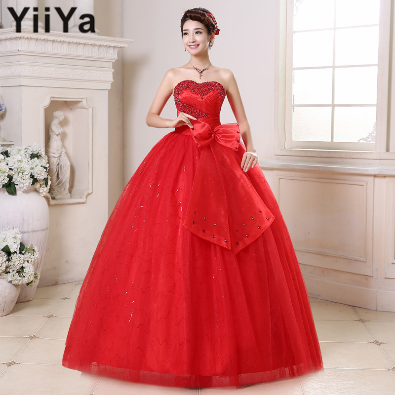 Free shipping yiiya red wedding gowns 2015 new plus size for Wedding dress free shipping