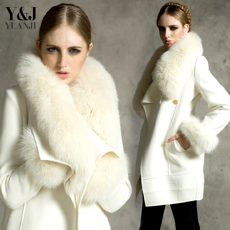 6108 # European and American big new winter woolen coat female ovo collar and long sections Slim large size white woolen