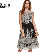 Buy SheIn Party Dresses Color Block Black Champagne Contrast Fit Flare Embroidered Cap Sleeve Knee Length Mesh Elegant Dress for $23.97 in AliExpress store