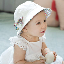 Amazing Toddler Infan Baby Girls Floral Bowknot Bucket Hat Two Sided Cotton Beach Cap Summer Outdoor Sunshade Hat 1pc BS097(China (Mainland))