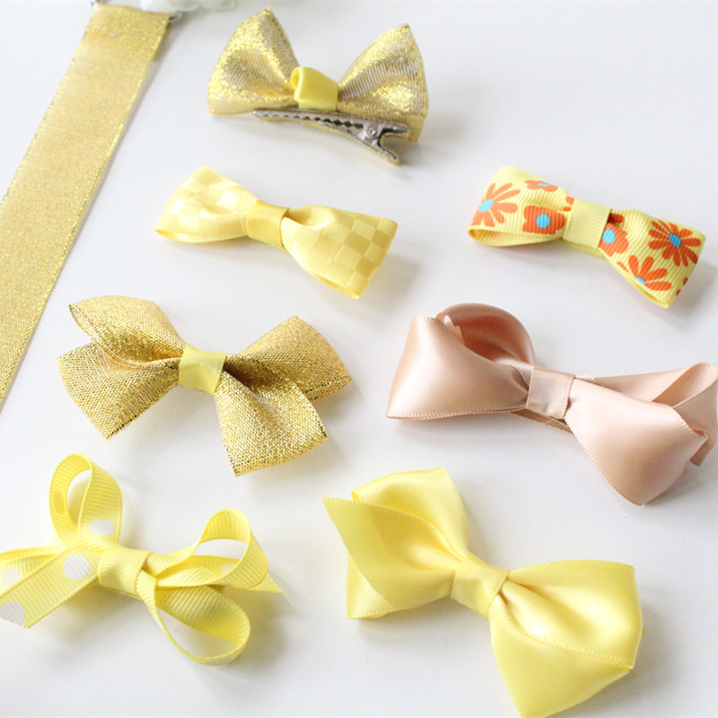 New Arrival Fashion British Star Xiao qi's Cute Baby Girls Hairpins Set Yellow/Grey Cloth Bowknot Hair Clips Kids Barrettes(China (Mainland))