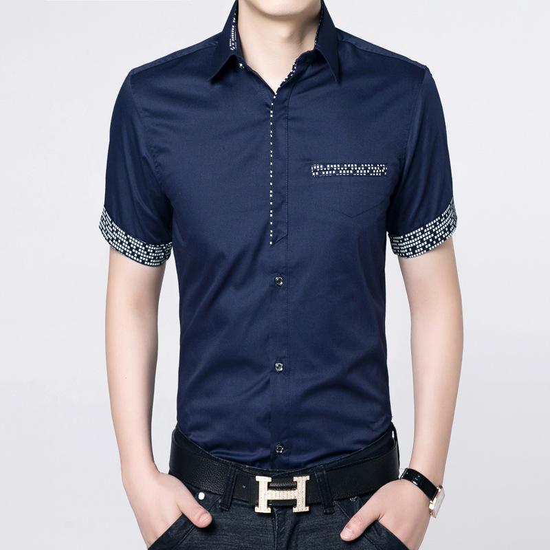 New Arrival 2016 100% cotton shirt male short sleeve turndown collar men casual shirts fashion slim fit Mixed colors shirt(China (Mainland))