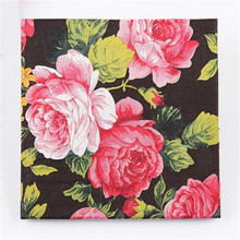 FD3023 new  Wedding Birthday Party Rose Floral Paper Napkins 33X33CM 1 Pack 20 PC(China (Mainland))
