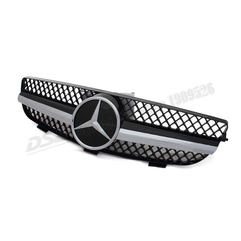 2003-2009 Mercedes W209 Chrome Framed Black Mesh Grill Grille with Chrome Star for CLK350 CLK500(China (Mainland))