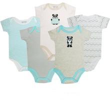 2015 Summer Style 5Pcs/Lot Newborn/Infant/Toddler Short Sleeve Bodysuit Baby Boy&Girl Panda Para 0-12M Roupa Infantil Free Ship(China (Mainland))