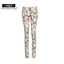 2016 Casual Spring Summer Style Women Pants Vintage Slim Floral Mid Waist Cotton Skinny Pencil 3D Floral Flower Print Trousers(China (Mainland))