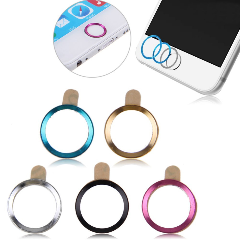 5pcs/Set Aluminium Metal Touch ID Home Button Stickers Decals For iPhone 4 4S 5s 5c 5 for iPad(China (Mainland))