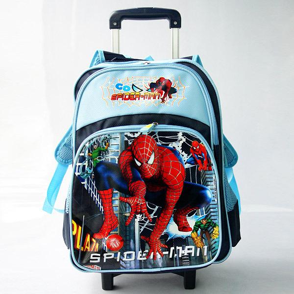 Trolley school bag lightening Spider-man bag travel bag backpack pencil case back to school backpack for girls and boys bag(China (Mainland))