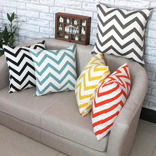 2015 New Ripple Chevron Zig Wave Linen Cotton Cushion Cover Home Decor Throw Pillow Case