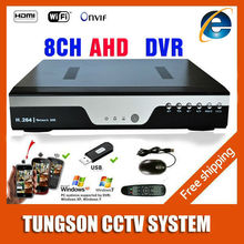 Hot 8ch ahd dvr 1080 p 25fps AHD-NH cctv camera recorder  Onvif network 8 canali ip nvr 4ch ingresso audio multi-lingua  Allarme(China (Mainland))