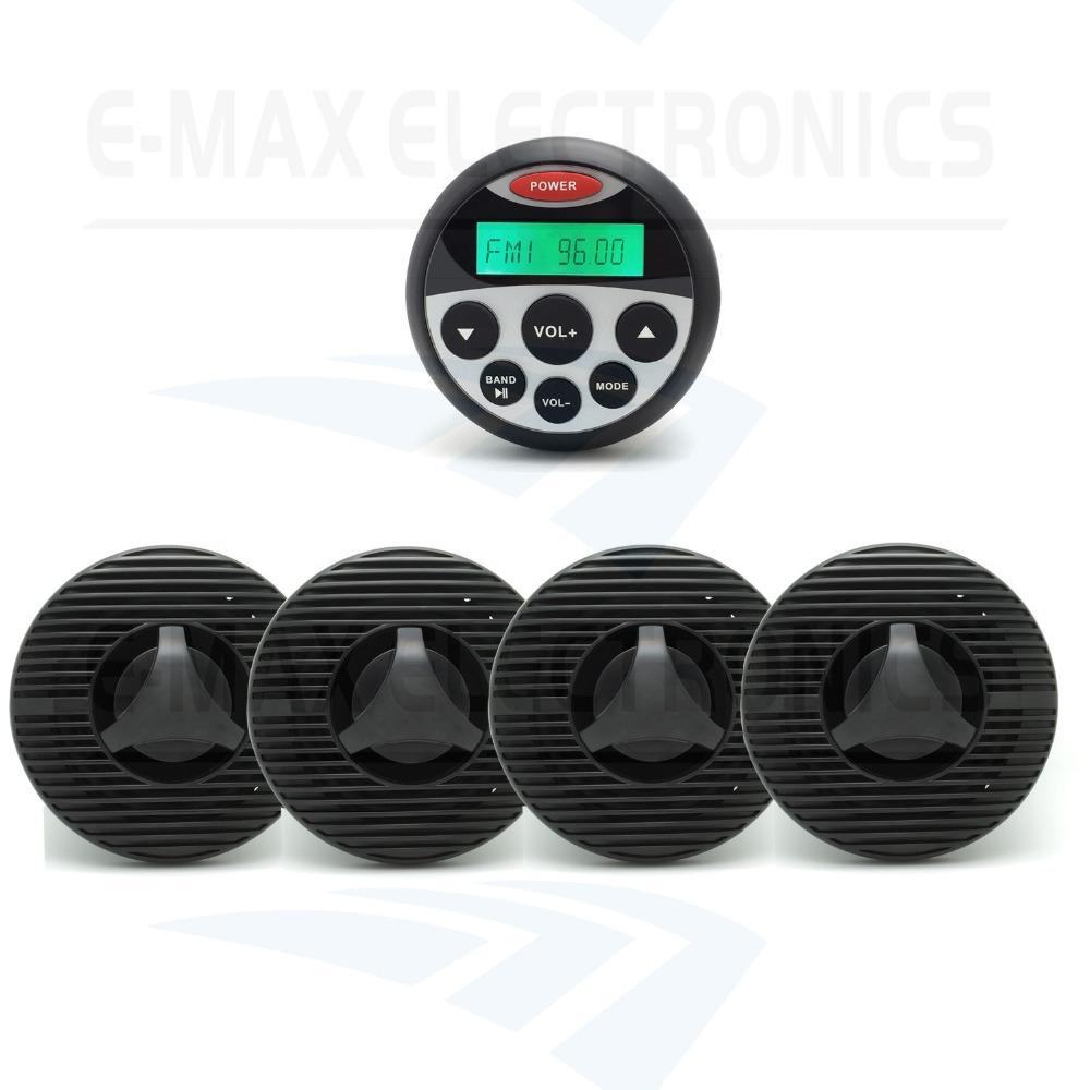 Waterproof Marine Radio Stereo SPA UTV ATV Sound System for Tractor MP3 USB Player + 2 Pairs 6.5 inch marine Speakers(China (Mainland))