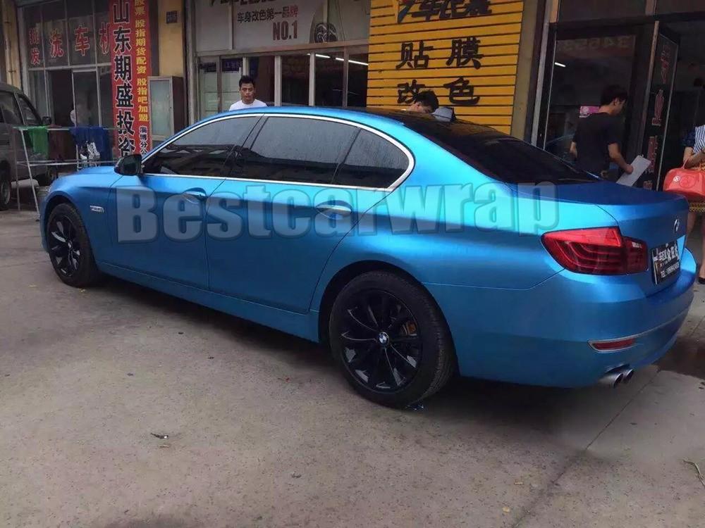 aluminum blue matte chrome metallic vehicle wrapping Film foil car graphics styling Tuning Vinyl sheets satin chrome Film