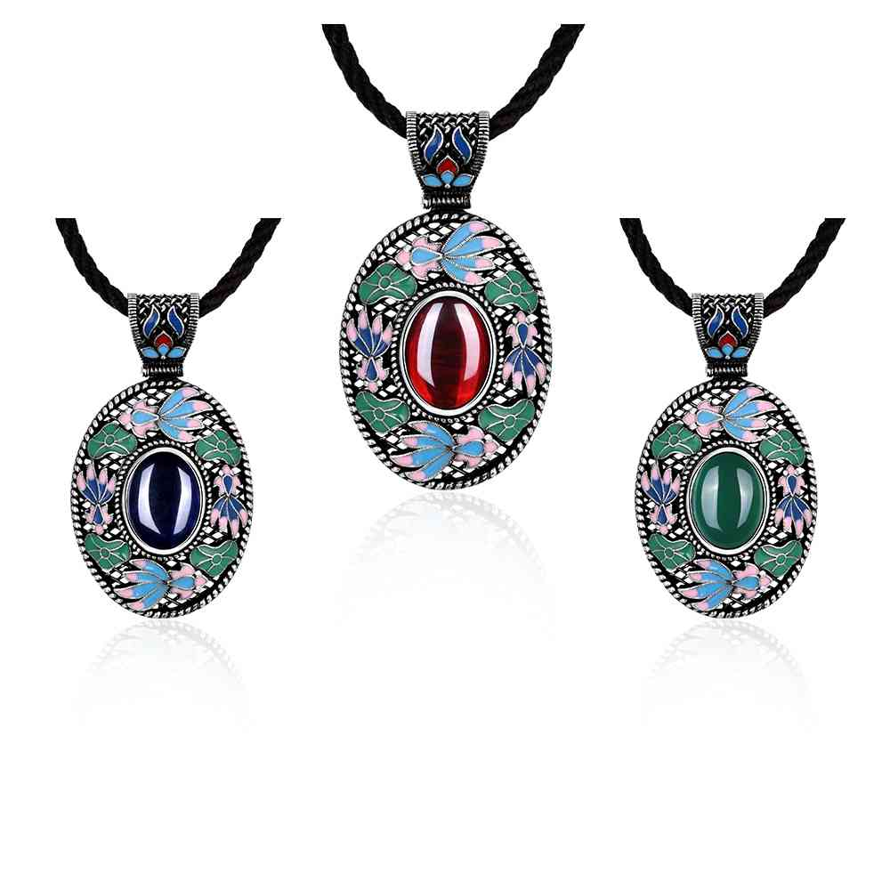 Free Shipping High Quality boucle d oreille pendant necklace Retro long oval bead necklace Jewelry European