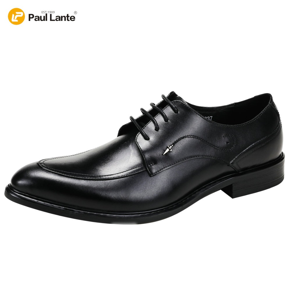 2017 Men's Casual Oxfords Lace-up Brogues Pointed Toe Business Wedding Shoes Leather Shoes Genuine Leather Dress Shoe For Men