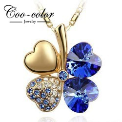Hotsell 18KGP necklaces for women Austrian Crystal four Leaf Leaves Clover heart rhinestones necklace pendant jewelry wholesale(China (Mainland))