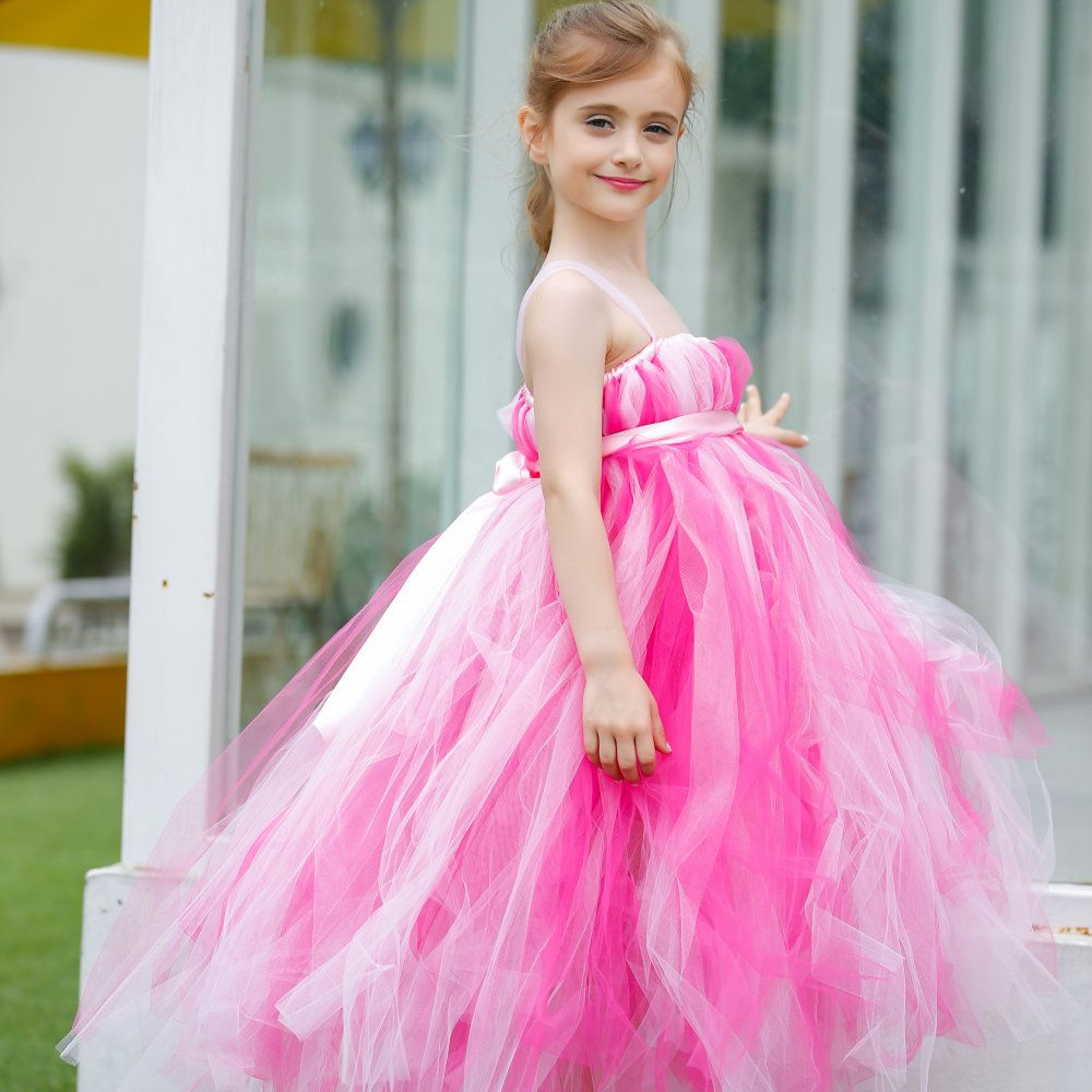 Hot Pink Princess Flower Girl Dress For Wedding Pageant Girls Tutu Party Dresses Little Girl Party Gowns High-End 2-12years(China (Mainland))