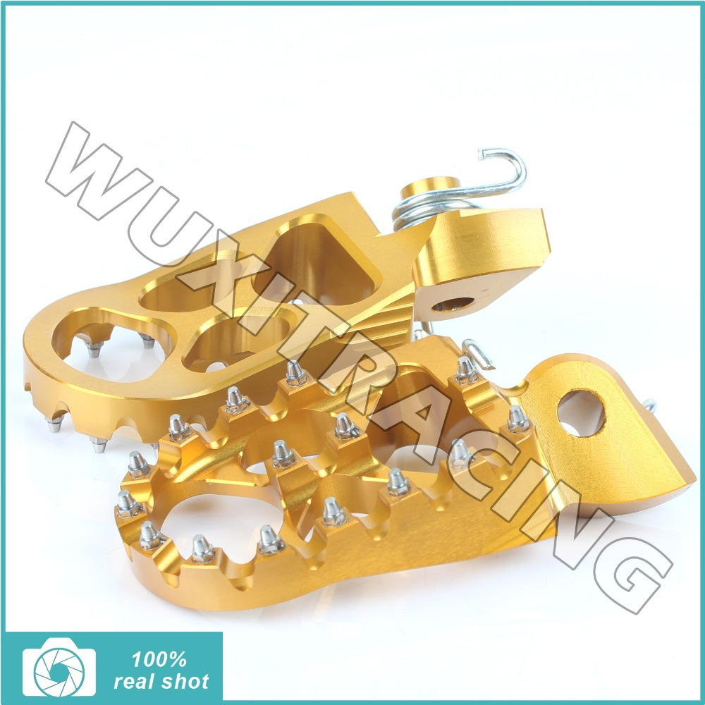Gold New MX Motocross Offroad Wide Fat Footpegs Footrests for KTM 125 150 200 250 300 350 400 450 500 505 525 SX EXC SXF 98-15<br><br>Aliexpress