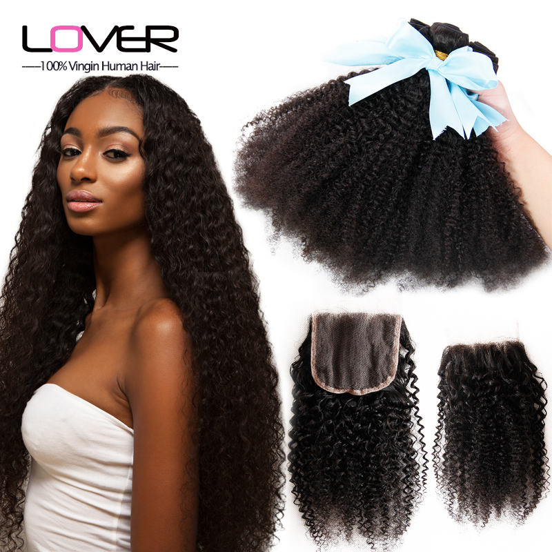 Best 7A Mongolian Kinky Curly Hair With Closure 100% unprocessed human hair weave with closure cheap 3-4 bundles with closure<br>