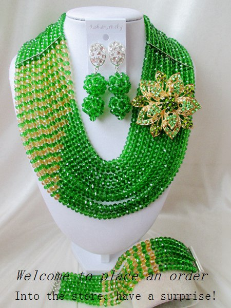 2015 Fashion Green african crystal beads necklace set nigerian wedding african beads jewelry set Free shipping P-r366<br><br>Aliexpress