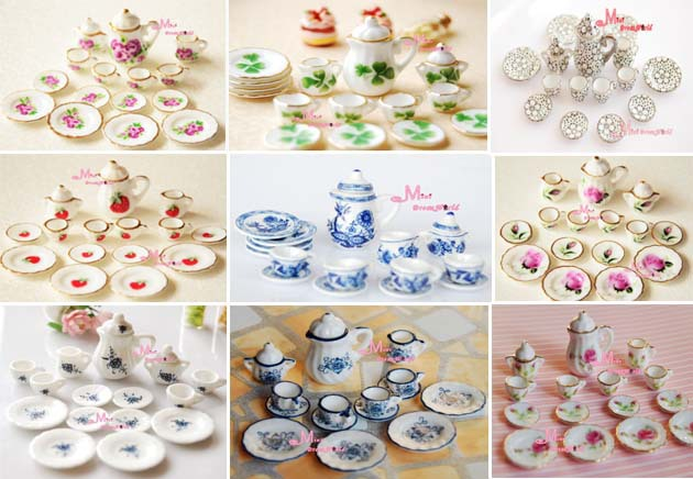 Free Shipping!Lot of 15pcs Tea Cup Set NEW Dining Dish Plate ~ 1/12 Scale Dollhouse Miniature Furniture For Doll China Toy(China (Mainland))