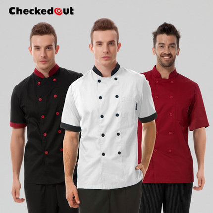 2015 Summer Short-sleeved Chef service Hotel working wear Restaurant work clothes Tooling uniform cook suit Tops high quality(China (Mainland))
