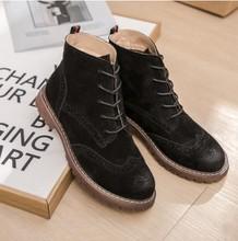 Kadın Martin çizmeler 2019 bahar yeni hakiki deri kadın ayakkabı, süet kadın patik, ingiliz dantel retro trend kadın naked boots(China)