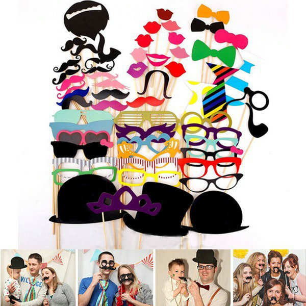 Гаджет  DIY Party Masks Photo Booth Props Mustache On A Stick Wedding Party Favor 58Pcs None Дом и Сад