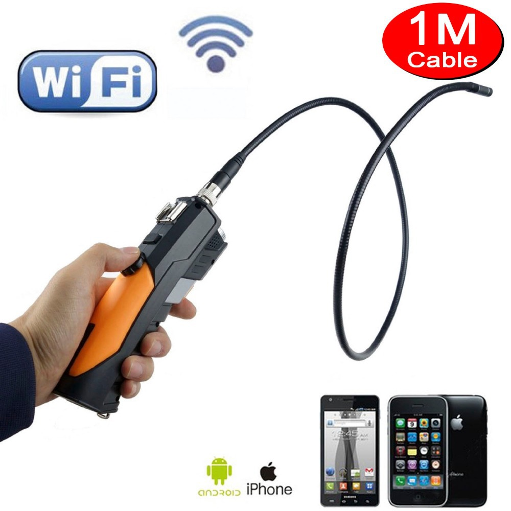 Гаджет  WIFI wireless Endoscope camera inspection camera with wifi 2.4GHZ 150Mbps  8.5mm Diameter HD720P 1M to 3M cable None Безопасность и защита