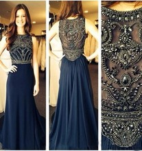 Hot Sale Navy Blue Prom Dress Heavy Beading Crystal Long Real Picture Sexy Long Evening Dress Party Dress long soiree longu CE50(China (Mainland))