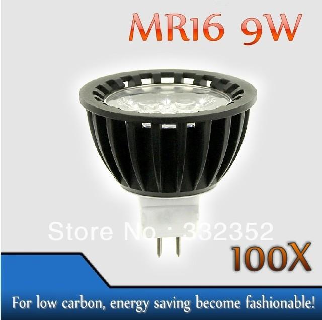 High power 100pcs/lot MR16  3leds Dimmable 3X3W 9W High Power LED Lights LED Bulb Lamp Led Spotlight