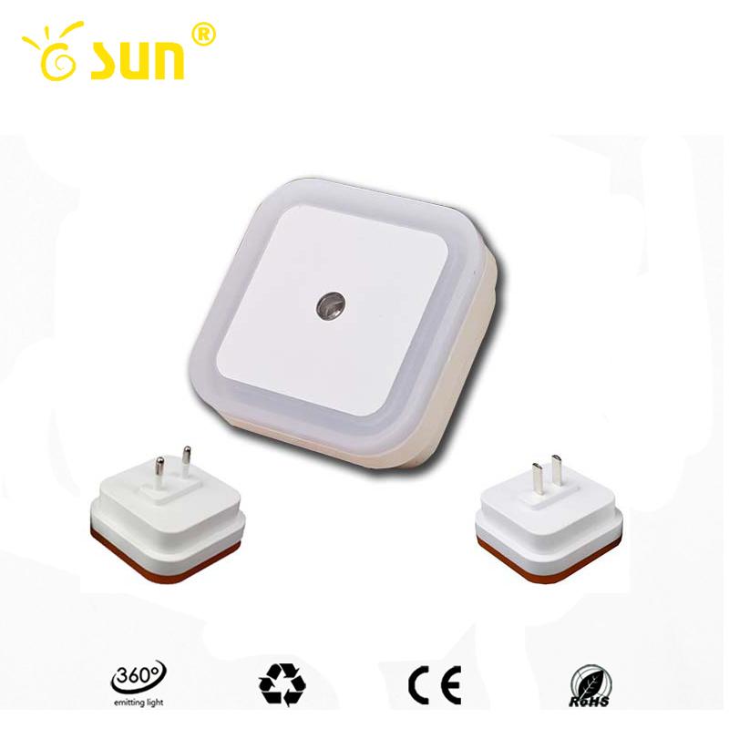 New Mini LED 0.7W Night Light Control Auto Sensor Baby Bedroom Lamp square White yellow AC110-220V LED night light for baby(China (Mainland))