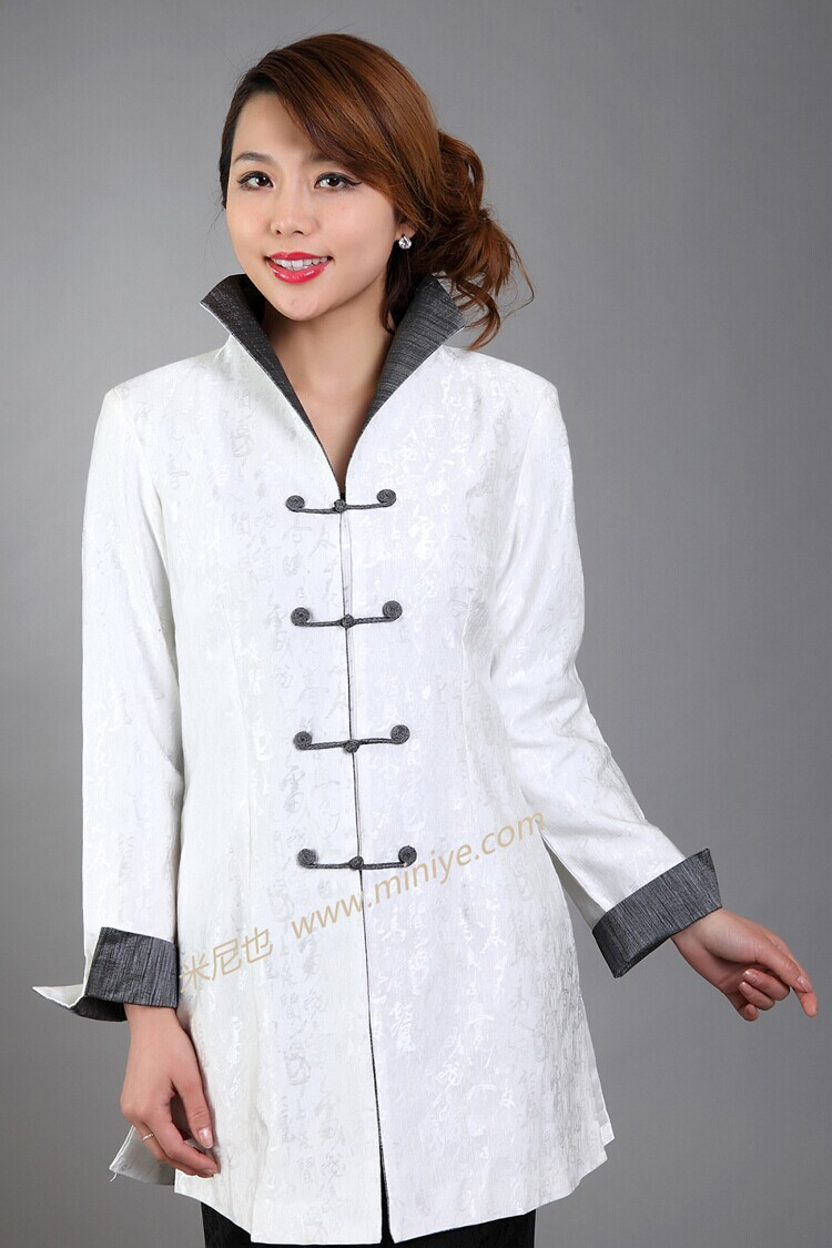 Classy White Chinese Female Cotton Jacket Autumn Windbreaker Long Coat Femininos Casacos Size S M L XL XXL XXXL M-23Одежда и ак�е��уары<br><br><br>Aliexpress
