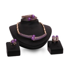 2016 Popularly Rose Gold Jewelry Set Bridal Hair Accessories Fashion Earrings Bracelet Rhinestone Wedding Jewelry Ring Set(China (Mainland))