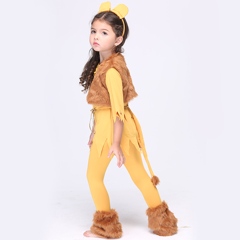 NEW Direct Selling Girls Deluxe Cowardly Lion Wizard Of OZ Cosplay Fancy Dress Child Animal Theme Carnival Party Costume EK015(China (Mainland))