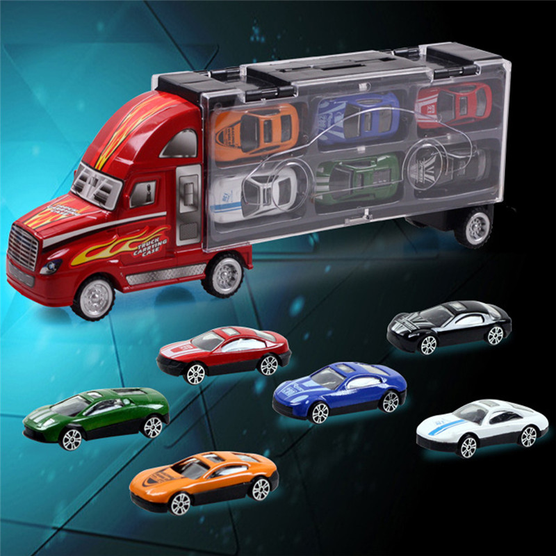 13pcs/lot Pull Back Diecast Metal Car Toys Children 12 Racing Car Toys Baby Mini Cars Car One Big Truck(China (Mainland))