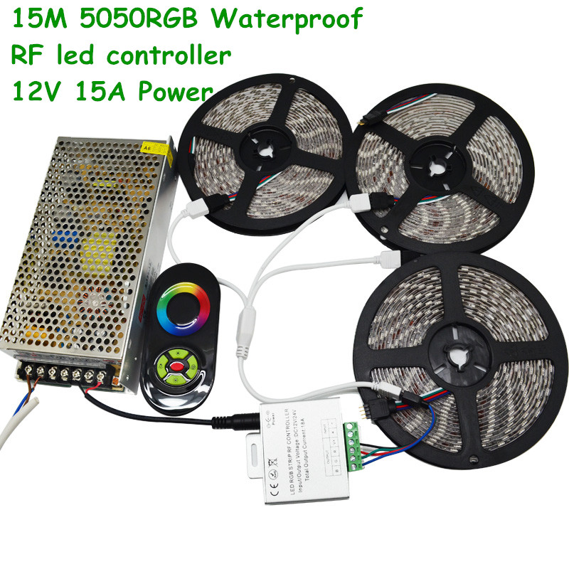 20M15M 10M DC12V 60led/m SMD 5050 RGB Flexible Light Waterproof LED Strip + RF Touch Remote Controller +12V15A Power Transformer(China (Mainland))