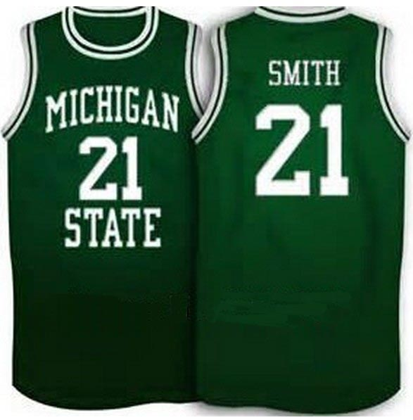 #21 Steve Smith Michigan State Spartans Basketball Jersey green,white,stitched name and number,custom any sizes Free shipping(China (Mainland))