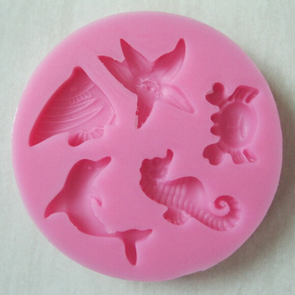 Sticking Cake Decorations On Fondant : Free shipping sea animal series Silicone 3D Mold Cookware ...