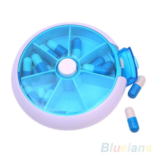 7-Day круглый медицина таблетки витамин коробка чехол хранения диспенсер держатель ...