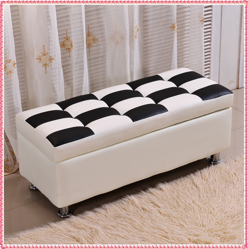 1.0M white and black storage sofa stool imtate leather <br><br>Aliexpress