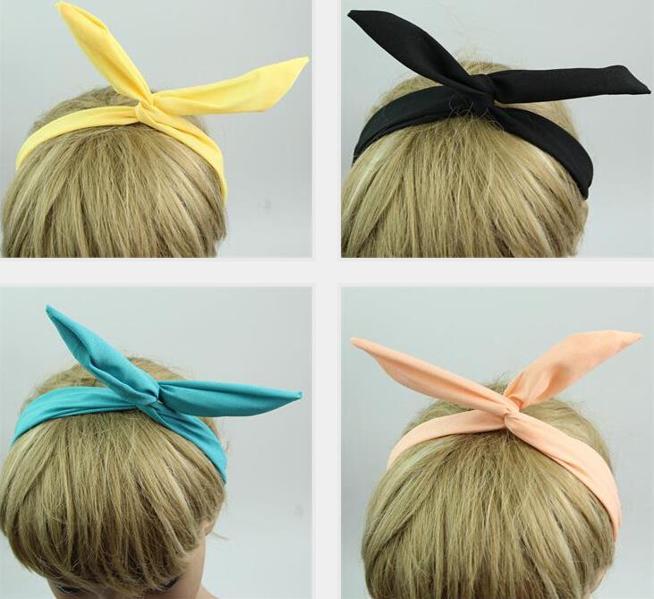 Cute Girls Solid Color Wire Headband Head Hair Band Bow Ribbon Wrap Bunny Rabbit Ears NA579(China (Mainland))