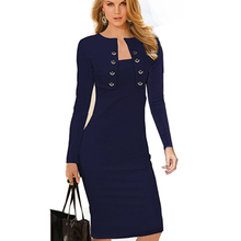 Autumn Winter Women Business Casual Sliming Pencil Dresses Elegant Long Sleeve Office Ladies Wear To Work EB10(China (Mainland))