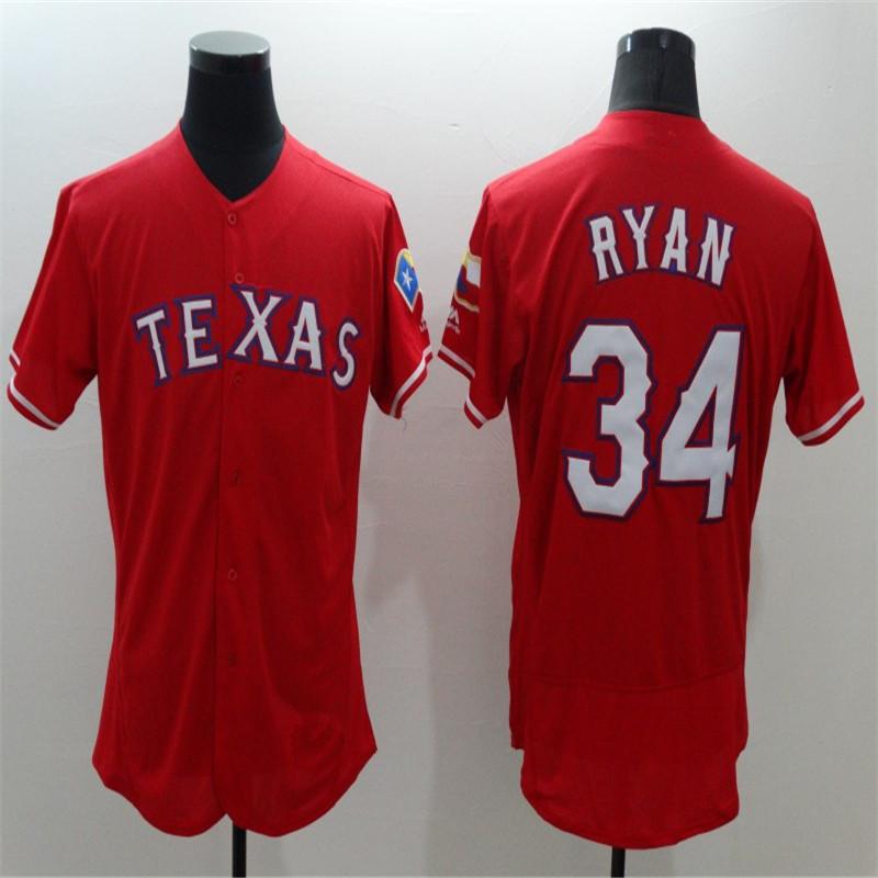 2016 Flexbase Men's Rangers 34 Nolan Ryan Gray Red Throwback Stitched Embroidery Baseball Jerseys(China (Mainland))