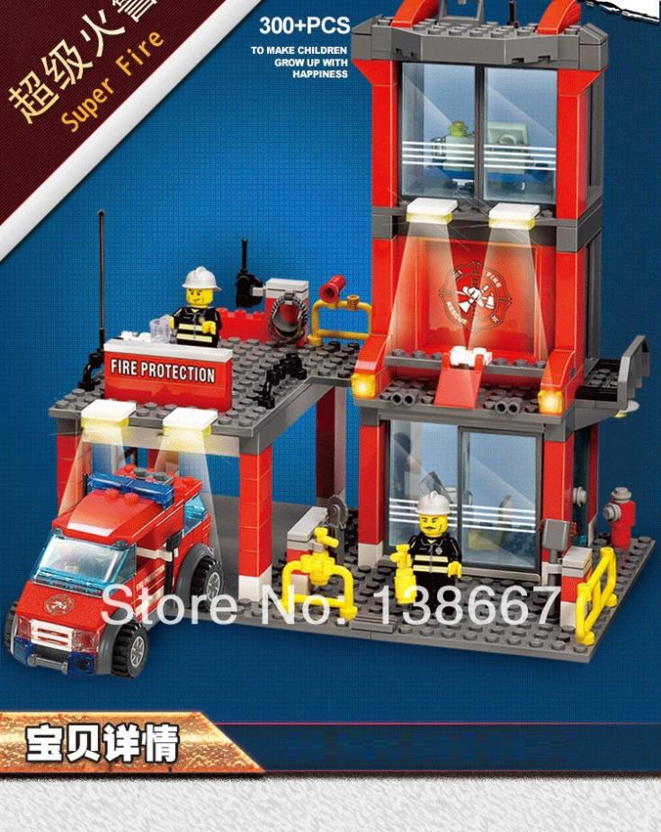300+ pcs Kazi Fire Fight Building Blocks Protection Assembling Toys Educational Children model compatible with gift/mega bloks(China (Mainland))
