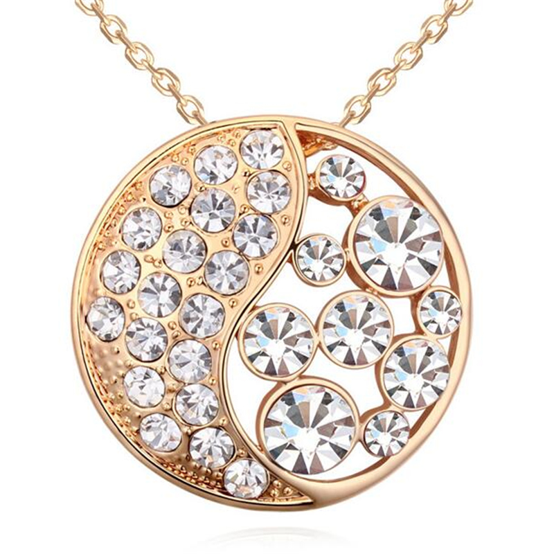 Austrian Crystal Jewelry Round Necklace Pendants Gold Plated Vintage Style yin yang Bijoux Women 18031 - Lucky Mall store