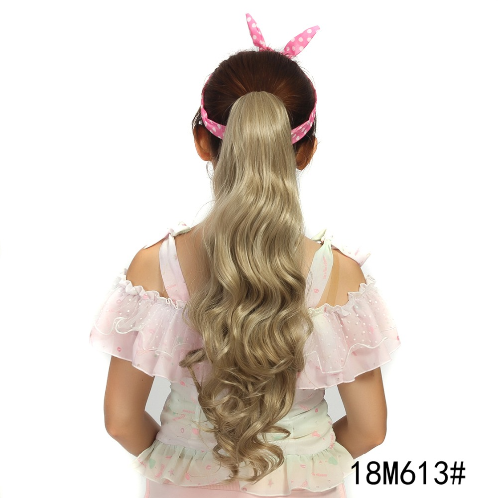 Women's Synthetic Hair long wave clip-on style ponytail and new brand cheap and fashion Ponytails