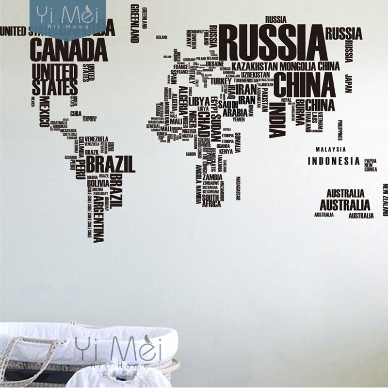 Large World Map Countries Letters Names Educational