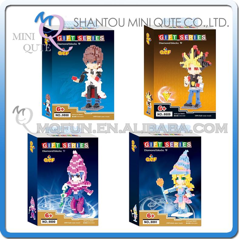 Mini Qute QCF Kawaii Duel Monsters Yugi Muto Seto Kaiba plastic building cartoon model block action figures educational toy