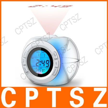 Free Shipping 7 Color Light Sound Controlled Talking Time and Temperature Projection Clock(816)(China (Mainland))