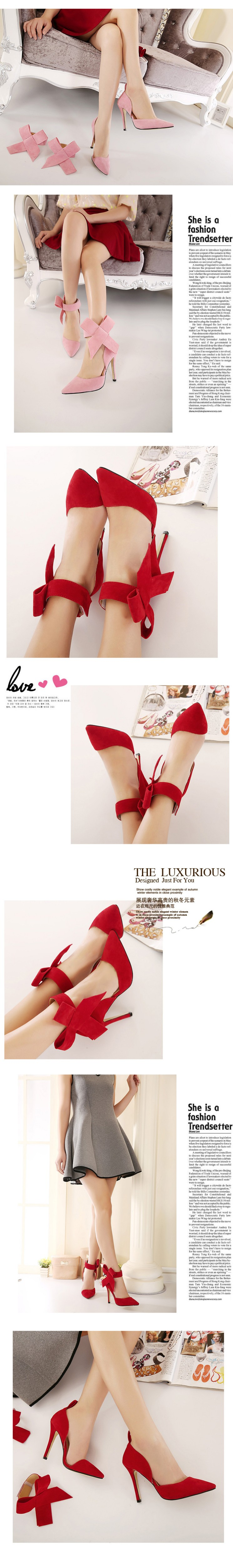 New Thin High Heels Women Pumps Sexy Pointed Toe Removable Bowtie Party Shoes New Ladies Stiletto Shoes Plus Size 40 41 ZX2.5